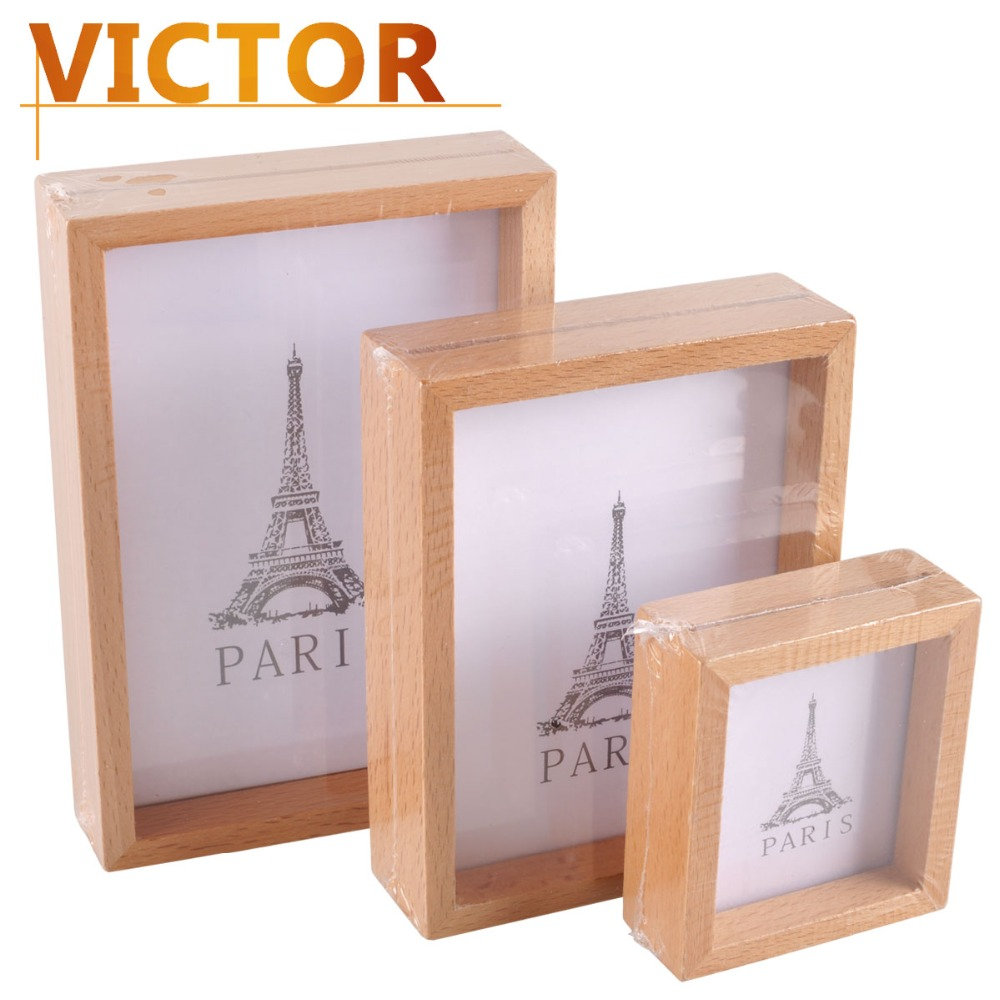 Modern wooden photo frames for family baby wedding picture for How to display picture frames on a table
