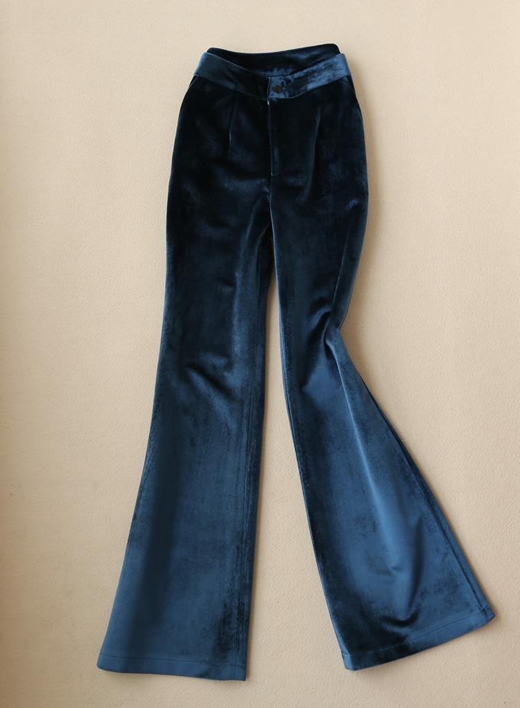 Gold samt anzug frauen büro dame professionelle blazer + breite bein hosen zwei sätze frühling herbst neue mode temperament - 6