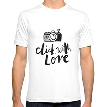 Cotton Low Price Top Tee For Short 100% Click With Love In White Crew Neck Mens