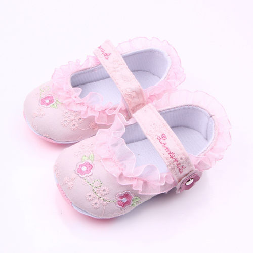 Cute Baby Girls Non-Slip Newborn Infant Baby Toddler Lace Patchwork Frilly Flower Soft Shoes