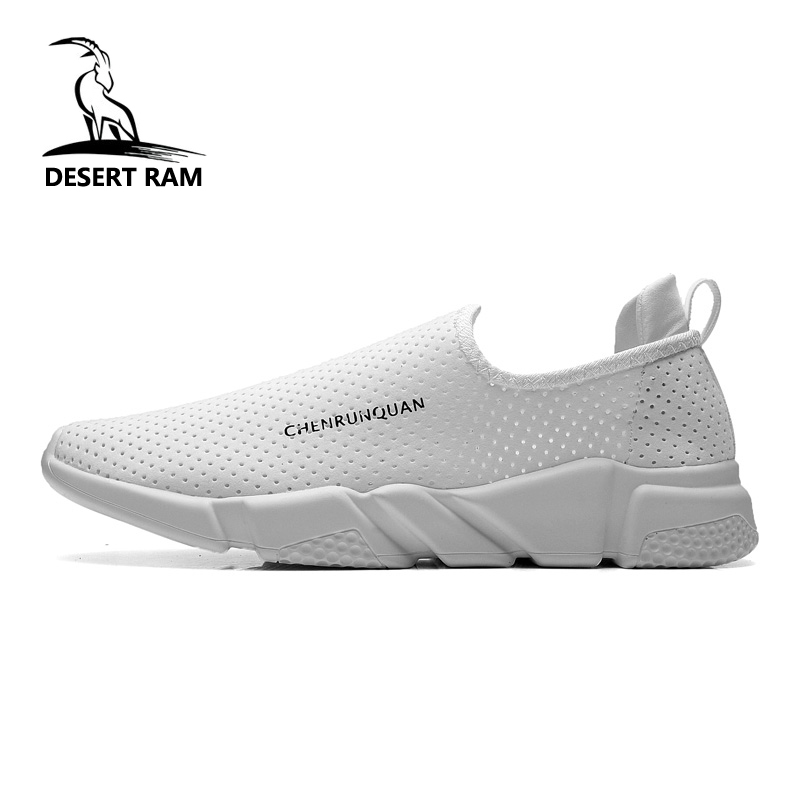 DESERT RAM Brand Fashion Shoes Men Casual Lovers Loafers Leather Sneakers Summer Mesh Black White Canvas Slip On Boat Mens Shoe