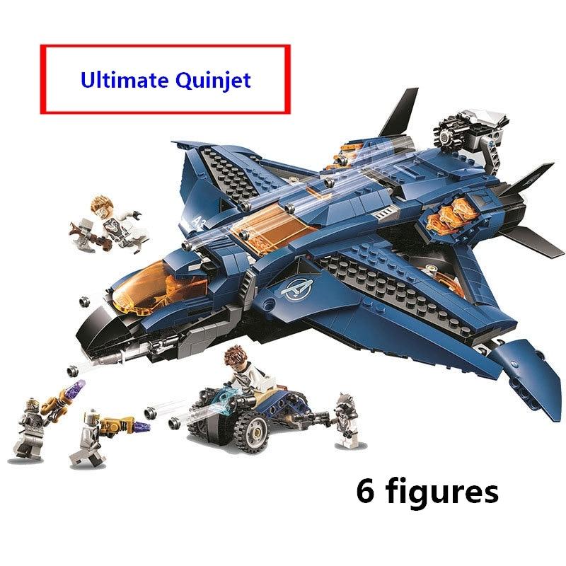 Compatible avec lego 76126 Marvele Avengers endgame ultime Quinjet avion Super héros Playset Hawkeye Rocket Thor Figures