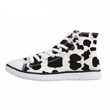 NOISYDESIGNS Cartoon Cow Print Women Spring Canvas Shoes Fashion Lace Up High Top Vulcanize Casual Sneaekrs for Girsl Lady