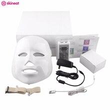 Skineat 7 Cor LED Máscara Facial Cuidados Anti-Rugas Acne Máquina Da Beleza Da Remoção do Dispositivo Spa Rejuvenescimento Da Pele Rosto Branco Masker