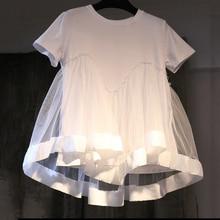 [Gutu] Лето 2017 г. новые модные с круглым вырезом короткий рукав сплошной цвет хлопок Разделение совместных сетки Футболка женская Y023