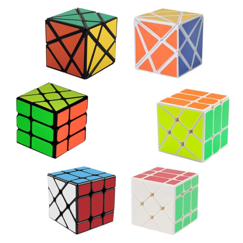 3db / készlet Magic Cube készlet 3x3x3 Fisher Cube & 2x2x2 szélkerék Magic Cube & Fluktuációs szög tengelykocka Puzzle játék (W0