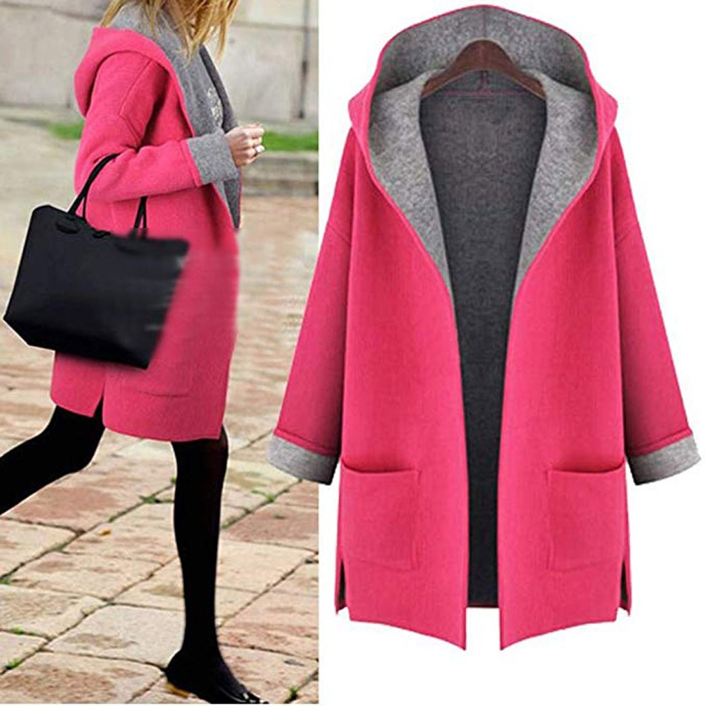 Woolen Women Coat Medium Long Hood 2 pockets Wool Blends Fashion Outwear Female Plus Size Autumn Winter Coats L 5XL in Wool amp Blends from Women 39 s Clothing