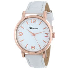 Fashion White&Grey Strap Geneva Women's Brushed Metal Leather Band Dress Simple Watches Relogio Feminino Large Discount