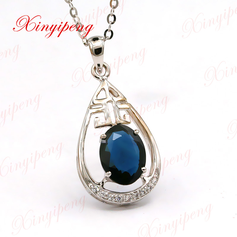 Xin yi peng 18 k white gold inlaid 1.5 carat natural sapphire necklace pendant, woman, simple and easyXin yi peng 18 k white gold inlaid 1.5 carat natural sapphire necklace pendant, woman, simple and easy