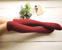 1 PC New Warm Women's Turn Up Rib Colored Dot Wool Blend Long Knee High Winter Boot Socks(China)
