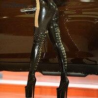 Sorbern сексуальная шнуровка назад Фетиш сапоги обувь большого размера Для женщин ботинки черного цвета Uk 7 до колена на шнуровке сапоги на зак