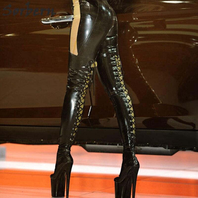 Sorbern сексуальная шнуровка назад Фетиш сапоги обувь большого размера Для женщин ботинки черного цвета Uk 7 до колена на шнуровке сапоги на заказ Цвета большие икры Размеры