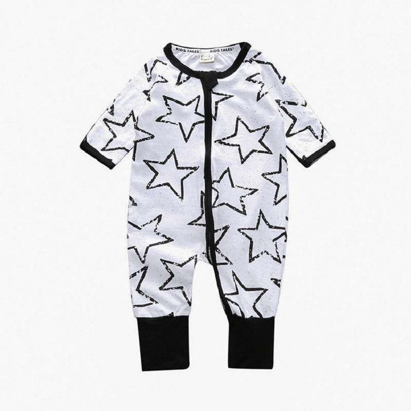 Star Zipper Newborn One-Piece Clothes Baby Girls Romper Boys Sleepwear Cotton Jumpsuit Infant Pajamas Overall Bebe Roupas Soft