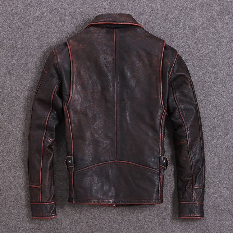 2019 Vintage Red Brown Men American Casual Style Leather Jacket Plus Size 5XL Genuine Cowhide Autumn Leather Coat FREE SHIPPING