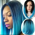 Blue Lace Front Bob Wig for Black Women Silk Wig Colored Wigs Perruque Synthetic Women Peluca Sinteticas Lace Frontal Cosplay
