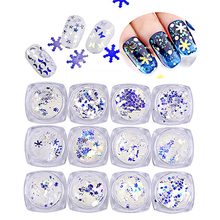 Blu-ray Nail Art Sequins Christmas Snowflake Blue Shining Moon Star Decoration N30CY
