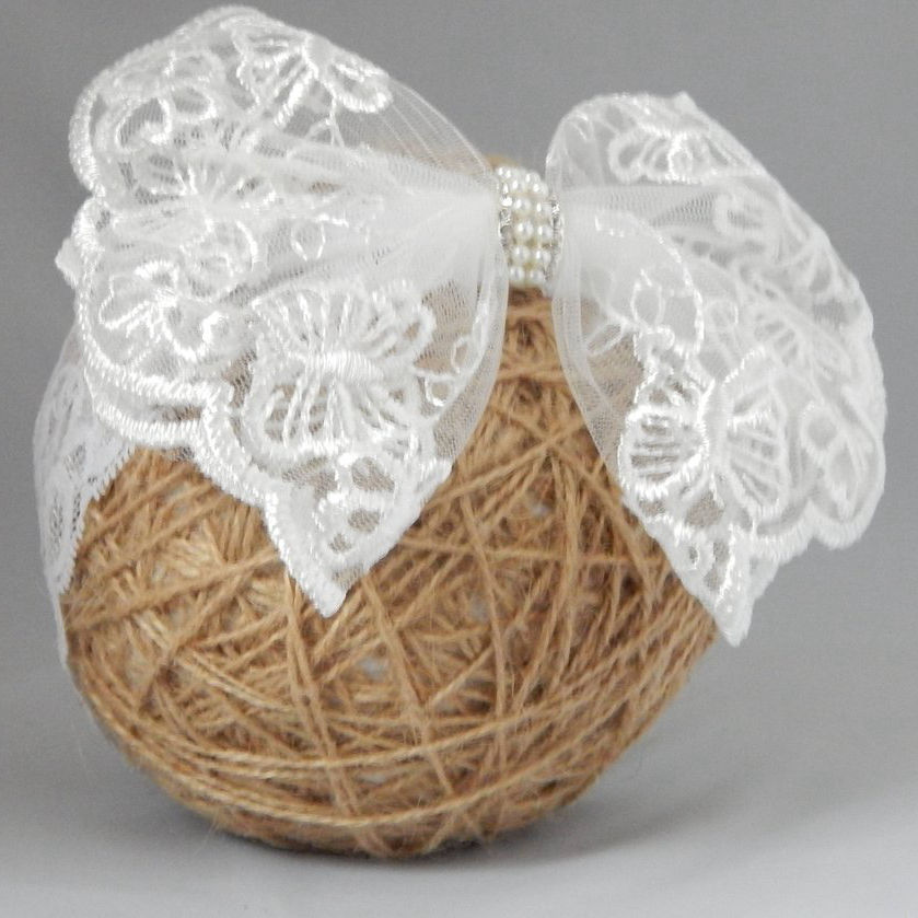 White with lace bow Headband
