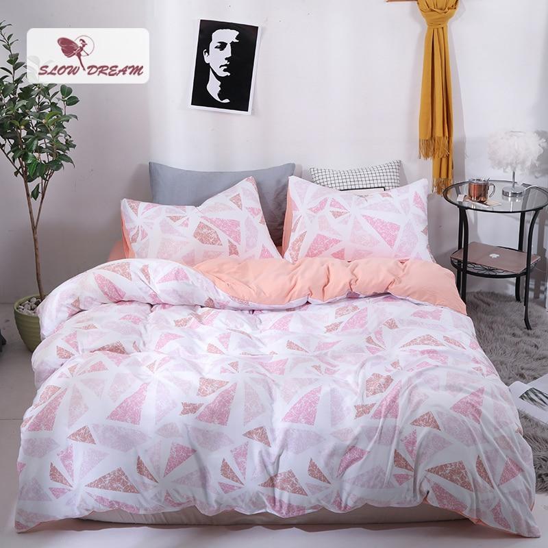 SlowDream Geometry Art Bedding Set Pink Girl Gift Bedding Linens Sheet Pillowcase Duvet Cover Set Bedspread Double Bedclothes in Bedding Sets from Home Garden