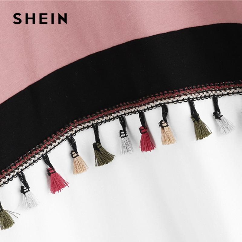 SHEIN Multicolor Cut and Sew Tassel Detail Colorblock Fringe Round Neck Sweatshirt Preppy Style Hooded Pullover Sweatshirt 2