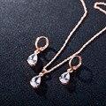 Sistemas de La Joyería de Cristal de cobre 18 K Oro Verdadero Plateó La Gota del Agua Party Collar + Pendientes Por Juego Para Las Mujeres Engagement Envío regalo
