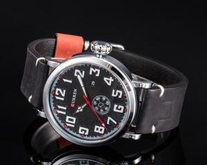 Image 3 - Relógio de pulso da marca curren moda grande mostrador digital masculino relógio de pulso calendário casual relógio de couro quartzo montre homme reloj hombre