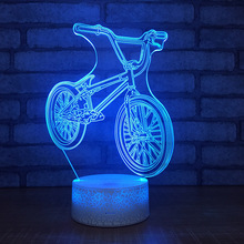 New Bicycle Night Light Usb Power Supply Color Remote Control 3d Visual Lamp Creative Gift  Usb Led 3d Light Fixtures