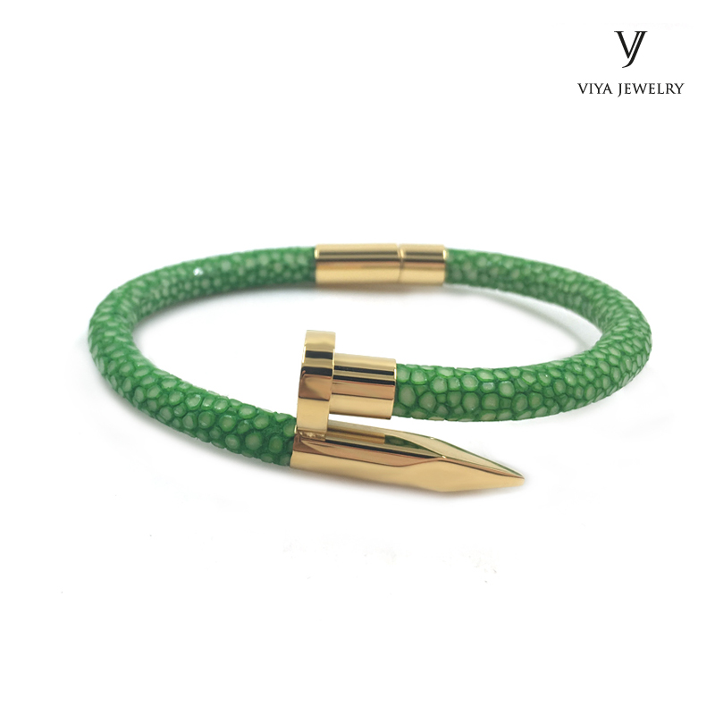 green-stingray-leather-gold-nail-bracelet