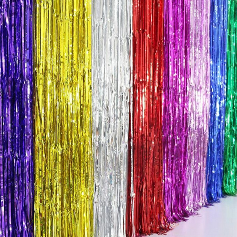 New 1Mx2M shimmering Gold Silver Metallic Tinsel Curtain Foil Room Shiny Pub party Stage wedding decoration backdrop Background