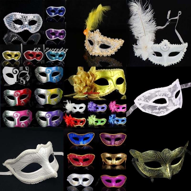 30pcs Man Women Halloween Masks Scary Mask Multiple Feather Masquerade Venetian Ball Birthday Party Masks Christmas