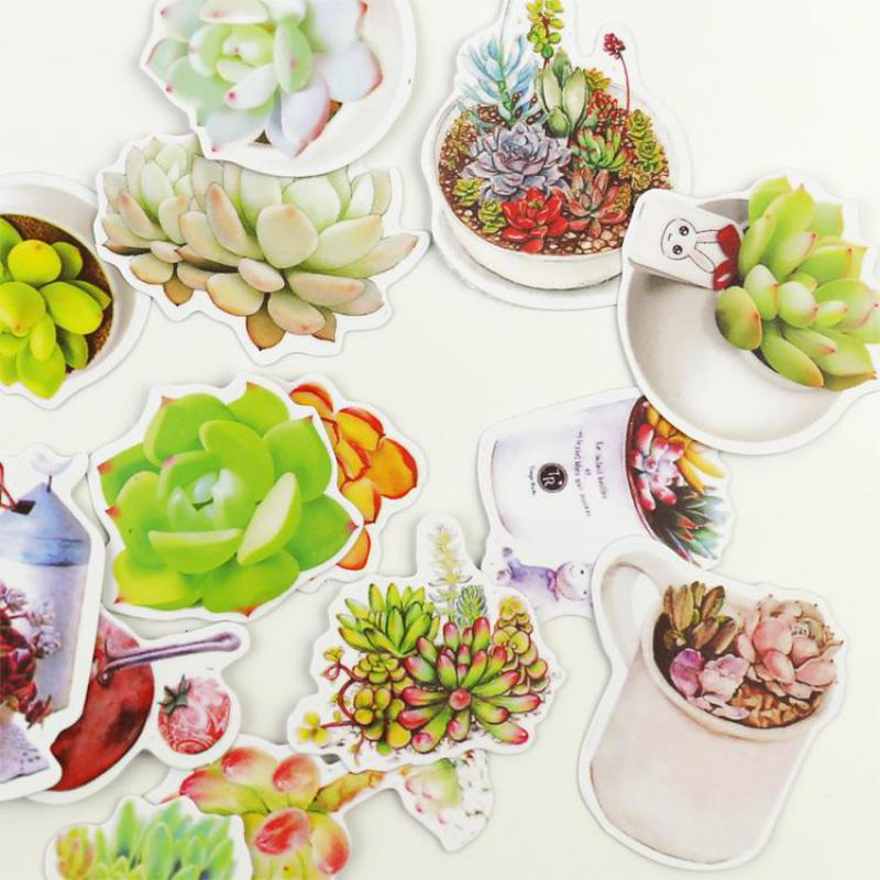 Fresh Succulent Plants Sticker Notebook Diary Book Decorative Stickers Label Stickers School Kawaii Paper Stickers Stationery