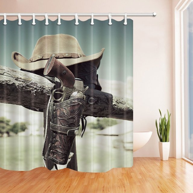 Western Shower Curtain American West Rodeo Traditional Straw Cowboy Hat On Wooden Bath Curtains