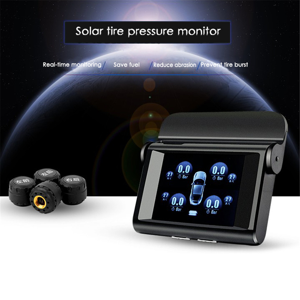 LT-368 For Universal TPMS Car Tire Pressure Monitoring System LCD Display Solar Power 4 Internal External Sensors Alarm System tpms tp620 car tire tire pressure alarm car tire diagnostic tool support bar and psi tire pressure monitor car electronics
