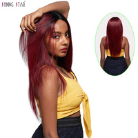 Shining Star 1B 99J Ombre Lace Wigs Human Hair For Black Women Brazilian Straight Lace Front Human Hair Wig 180 Density Non Remy
