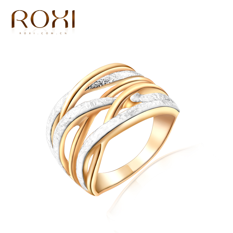 ROXI Top Brand Luxury Ring For Women New Gold Color Unique 3 Round