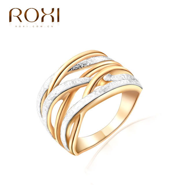 ROXI Top Brand Luxury Ring For Women New Gold Color Unique 3 Round Finger Rings