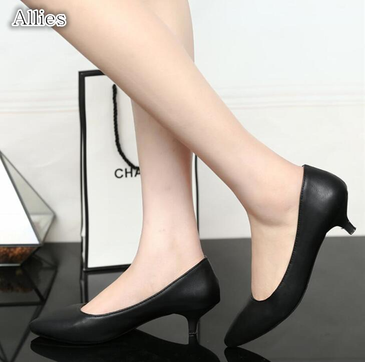 Allies New 3cm soft leather high heels short with women's shoes stiletto pointed black matt shallow mouth shoes women