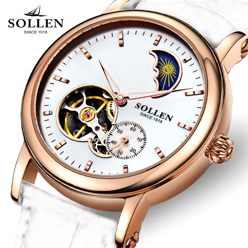 reloj mujer SOLLEN Gold Hollow Automatic Mechanical Watches women Luxury Brand Leather Strap Casual Skeleton Watch Clock цена