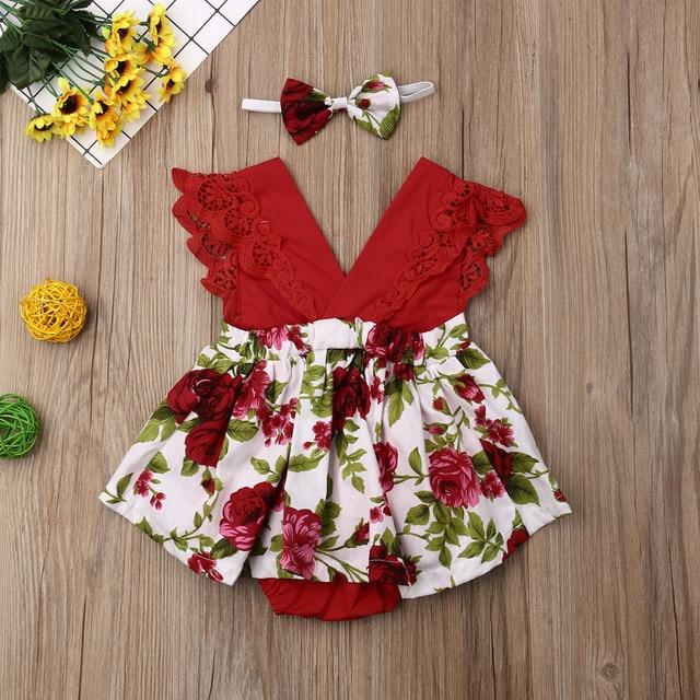 Emmababy-vêtements pour nouveau-né fille | Vêtements en dentelle, manches volantes, body, jupe imprimée fleurs, ensemble 2 pièces + bandeau