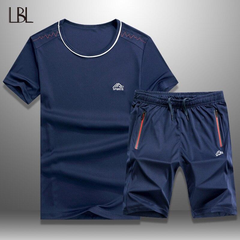 LBL Mens Tracksuit Set Summer Casual Sporting Quick-Drying Short Sets Men T Shirts + Shorts Sweatsuit 2 Piece Set Track Suit 6XL
