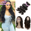 360 Lace Frontal With Bundle Pre Plucked Peruvian Virgin Hair Body Wave With Lace Frontal Cheap Human Hair Bundles With Closure