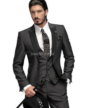 2016 Tailored Suit One Button Charcoal Gray Groom Tuxedos Groomsmen Men Wedding Prom Suits Custom Made (Jacket+Pants+Vest+Tie)