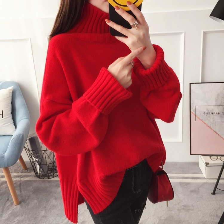 Amicable Fashion Turtleneck Winter Knitted Sweater Women Long Sleeve Loose Red Pullover Female Soft Warm Autumn Casual Jumper