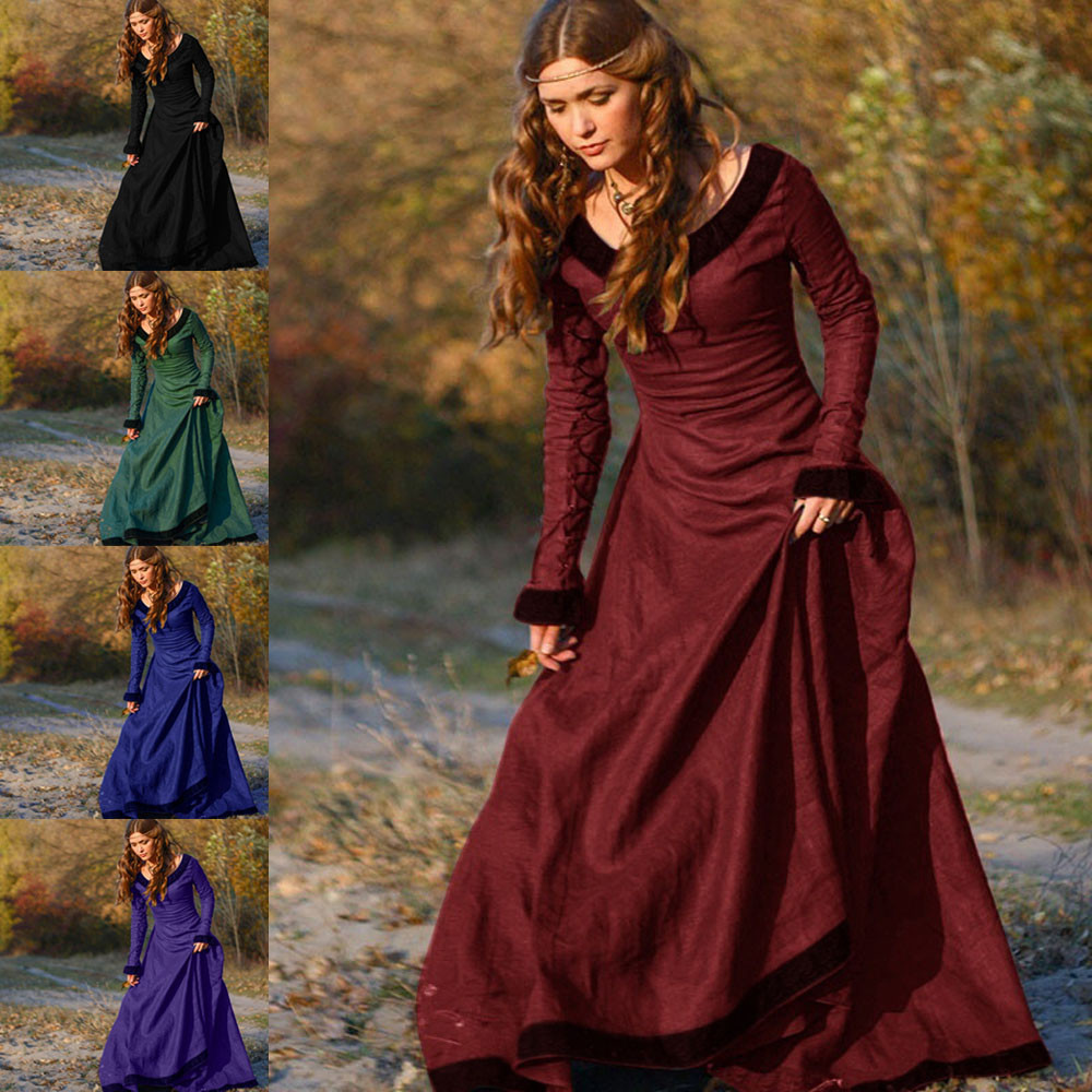 Free Shipping Women Vintage Medieval Dress Cosplay Costume Princess Renaissance Gothic Dress girl lady winter Floor-Length dress