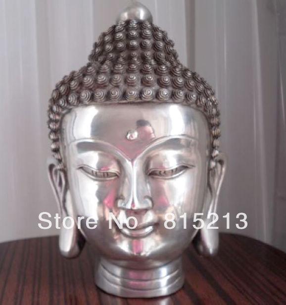 Free Shipping  Tibetan Buddhis Shakyamuni Bronze Buddha Head Statue