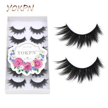 YOKPN 6 Pairs Thick False eyelashes High-quality Fiber Natural Lashes Black Terrier Eyelashes Fashion Makeup Eyelashes Make-up