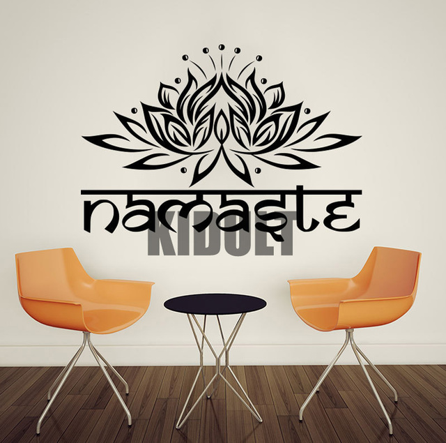 Yoga wall sticker india lotus pattern vinyl wall decal health hall bedroom living room background wall