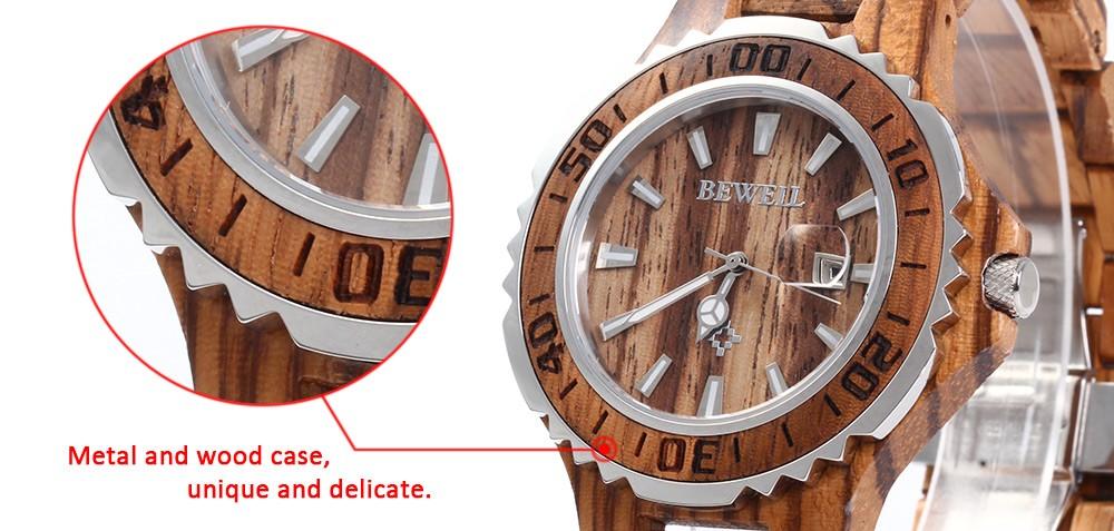 BEWELL 17 Luxury Brand Wooden Men Quartz Watch with Luminous Hands Calendar Water Resistance Analog Wrist watches reloj hombre 3