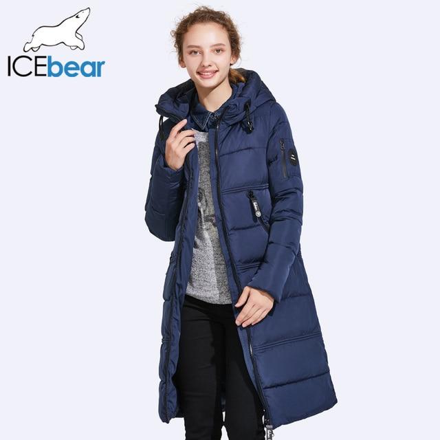 ICEbear 2017 Для женщин стеганые Мужские парки Для женщин двусторонние карман толщиной с капюшоном ветрозащитный Теплый вязаный ветрозащитный рукава 17G666D