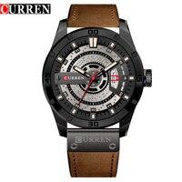 Mens Watches Top Brand Luxury Watch Men Date Display Leather Strap Creative Quartz Wrist Watches Relogio