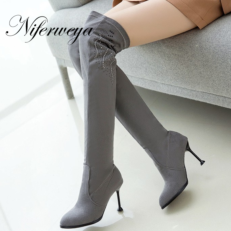 Rhinestone decoration Spring/Autumn women shoes sexy flock thin heel high heels Big size 31-50 Over-the-Knee boots zapatos mujer стоимость